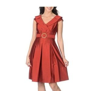 Tahari Cocktail Event Belted Flare Dress - 6